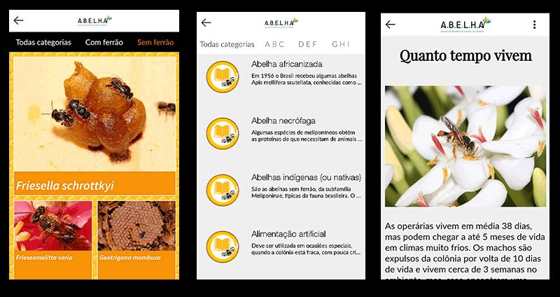 abelha lança app para estudantes e professores tela diversas